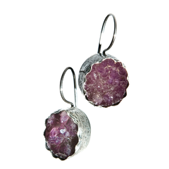 Amethyst Druzi Silver Earrings
