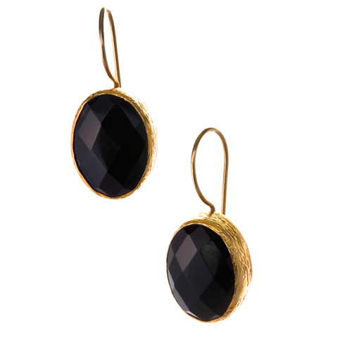 Oval Onyx Earrings