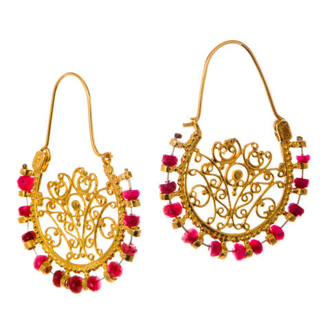 Ruby Fan Earrings