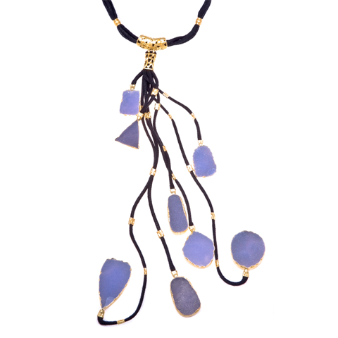 Chalcedony Druzi Black Branch Necklace