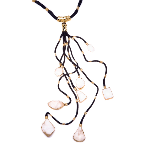 Snow Druzi Black Branch Necklace