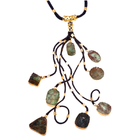 Green Druzi Black Branch Necklace