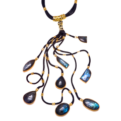 Moonstone Black Branch Necklace