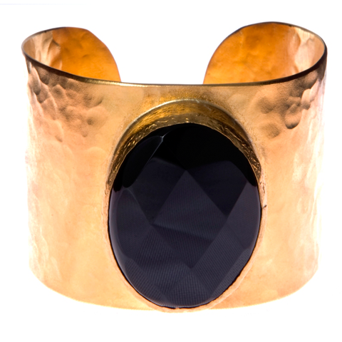 Faceted Onyx Cuff Bracelet