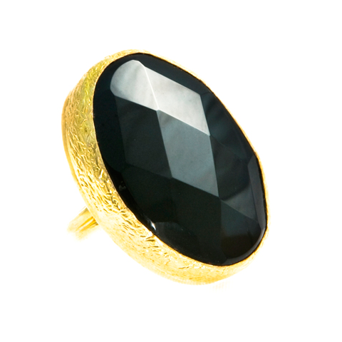Sexy Single Onyx Faceted Ring