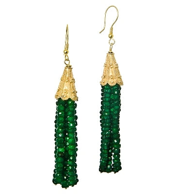 Emerald Six Strand Earrings