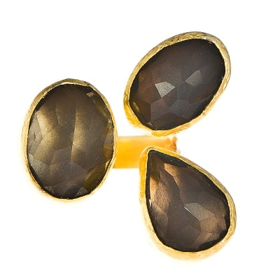 Smokey Topaz Three Stone Ring