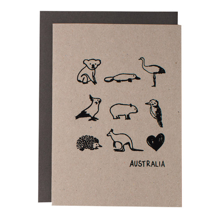 BIG CARD - AUSTRALIAN ANIMALS - various colours