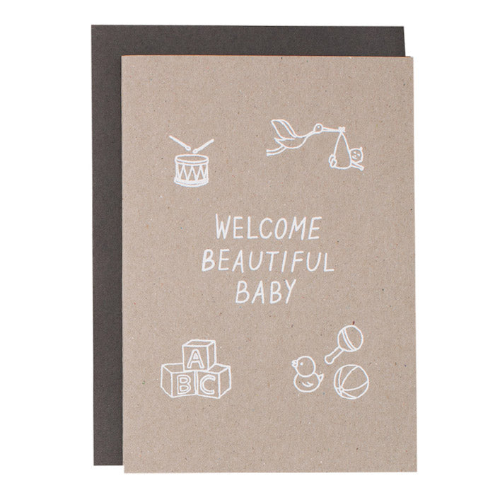 BIG CARD - WELCOME BEAUTIFUL BABY - various colours