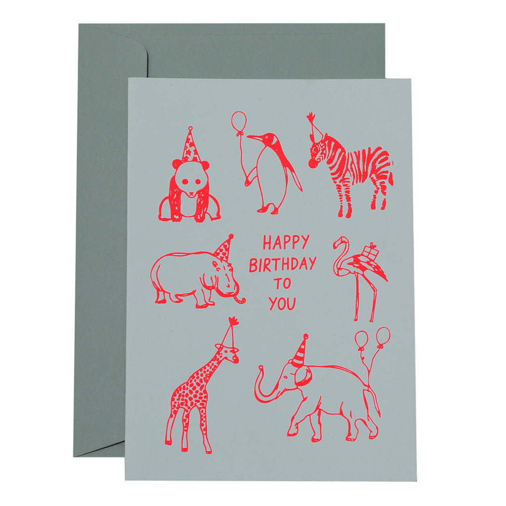 BIG CARD - PARTY ANIMALS - various colours