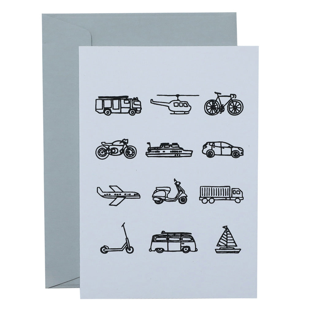 BIG CARD - TRANSPORT - various colours