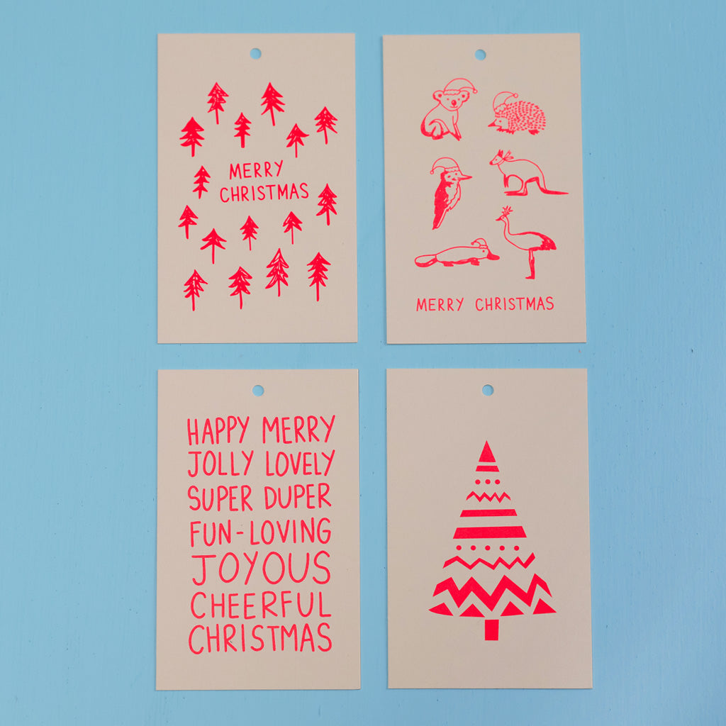 CHRISTMAS GIFT TAGS - NEON CORAL ON BLUSH