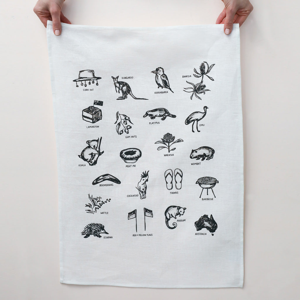 AUSTRALIAN THINGS TEA TOWEL - various colours