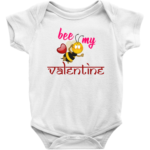 Rabbit Skins 4400 Infant Baby Rib Bodysuit - Bee my Valentine