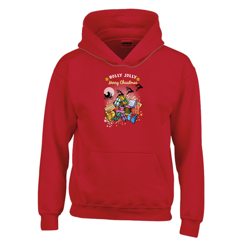 Gildan 18500B Unisex Heavy Blend Youth Hoodie| Holly Jolly Merry Xmas