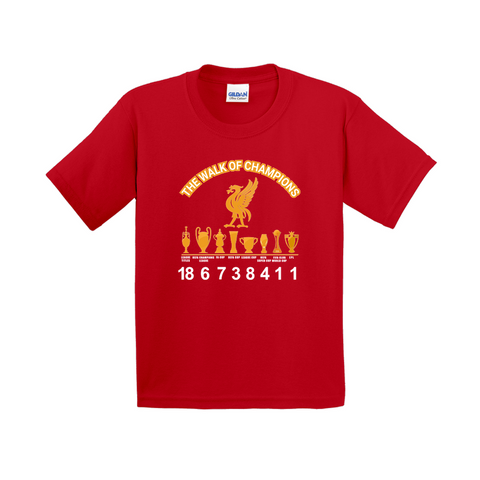 Gildan 5000B Heavy Cotton Short Sleeve-T-Shirts (Youth Sizes)|Liverpool FC | Walk of the champions|2019-2020 EPL title