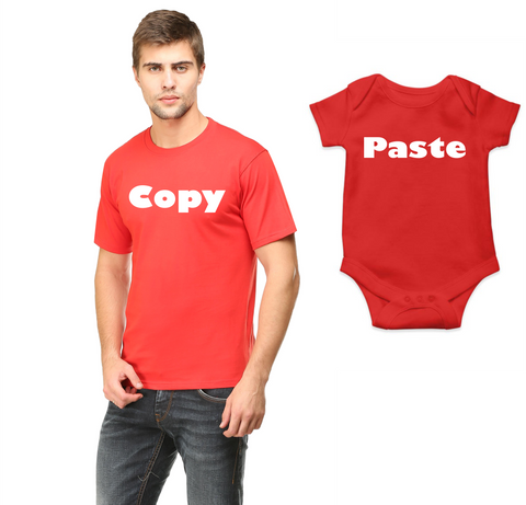 Father-Baby Combo  - 100% cotton tshirt for Men and Baby romper | Copy | Paste