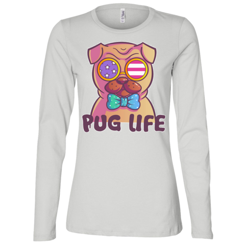 B6450 Bella + Canvas Ladies' Jersey LS Missy Fit -  Pug