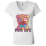 B6005 Bella + Canvas Ladies' Jersey V-Neck T-Shirt - Pug