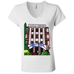 "B6005 Bella + Canvas Ladies' Jersey V-Neck T-Shirt - ""Trivandrum Engg College"" Doodle -Personalised year"