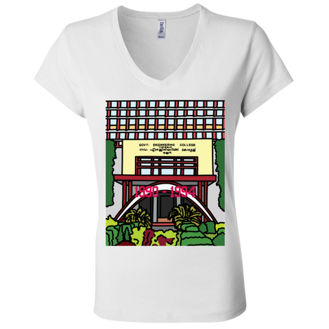 "B6005 Bella + Canvas Ladies' Jersey V-Neck T-Shirt - ""Trichur Engg College"" Doodle -Personalised year"