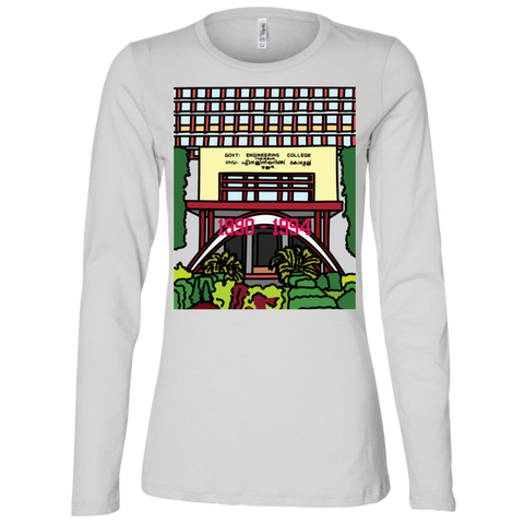 "B6450 Bella + Canvas Ladies' Jersey Long Sleeve T-Shirt - ""Trichur Engg College"" Doodle -Personalised year"