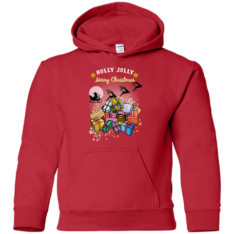G185B Gildan Youth Pullover Hoodie | Holly Jolly Merry Christmas