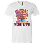 3005 Bella + Canvas Unisex Jersey SS V-Neck T-Shirt - Pug