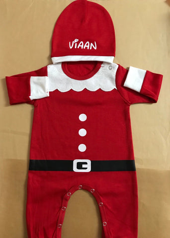 Unisex Baby Body suit  100% cotton- Santa onesie with Baby Name on the beanie