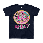 Girls Round Neck 100% cotton tshirt - LOL Surprise| Personalised Name and Age