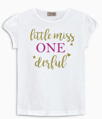 Baby GIRL Puff Sleeves Tshirt - 100% cotton - Gold Glitter Print | Little Miss Wonderful