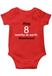 Unisex Baby Onesie/Romper 100% cotton -  months on Earth | Personalised design with Baby name
