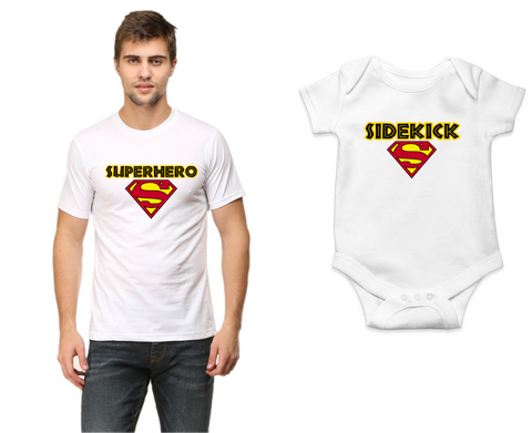 Father-Baby Combo  - 100% cotton tshirt for Men and Baby romper | SuperHero| SideKick