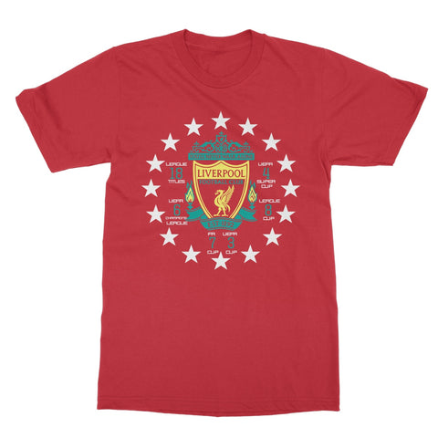 Gildan 64000 Classic style T-shirt | Liverpool FC Logo | Titles/Cups won