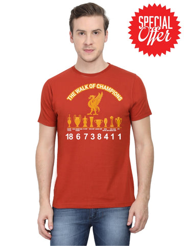 Mens Round Neck 100% Cotton Tshirt | Liverpool Fc Walk Of The Champions|2019-2020 Epl Title S /