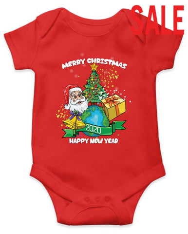 Unisex Baby Onesie - Merry Xmas & Happy Newyear 2020 0-5 Months / Red T-Shirt