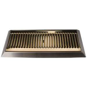 "16"" PVD Brass Bevel Edge Drip Tray, With Drain # DP-420LDSSPVD"