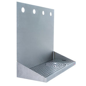 "16"" Stainless Steel Wall Mount Glass Rinser Drain Tray - 4 Faucet # DP-322LD-4GR"