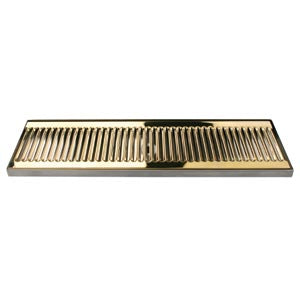 "20"" SS/PVD Brass Surface Mount Drain Tray, w/ Drain Nipple # DP-120DSSPVD-20"