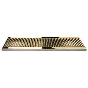 "24"" SS/PVD Brass Surface Mount Drain Tray, w/ Drain Nipple # DP-120DSSPVD-24"