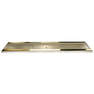 "33"" SS/PVD Brass Surface Mount Drain Tray, w/ Drain Nipple # DP-120DSSPVD-33"