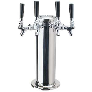 "4"" Column - 4 Faucets - Polished Stainless Steel - Glycol Cooled # DS-144-PSSKR"