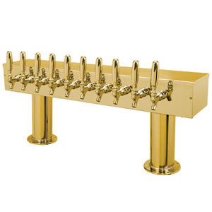 Double Pedestal - 10 304 Faucets - PVD Brass - Glycol Cooled # DPT410PVDKR