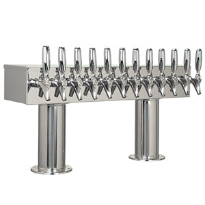 "Double Pedestal - 12 304 Faucets - 3"" Center - Polished SS - Glycol Cooled # DPT412PSSKR-3"