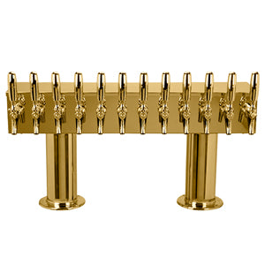 "Double Pedestal - 12 304 Faucets - 3"" Center - PVD Brass - Glycol Cooled # DPT412PVDKR-3"