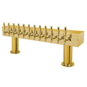 "Double Pedestal - 12 Faucets - 3"" Center - PVD Brass - Air Cooled # DPT412PVD-3"