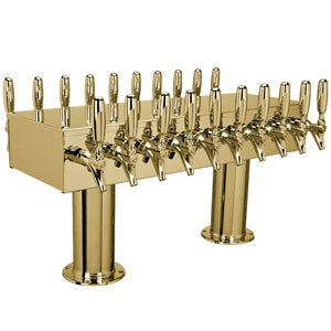 "Double Service Tower - 20 304 Faucets - 3"" Center - PVD Brass - Glycol Cooled # DPT420PVDKR-3"