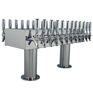 "Double Service Tower - 24 Faucets - 3"" Center - Polished Stainless Steel - Glycol Cooled # DPT424PSSKR-3"