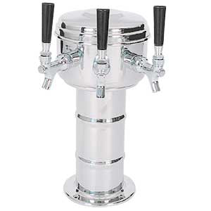 Mini Mushroom Tower - 3 Faucets - Polished Stainless Steel - Air Cooled # MTM-3PSS