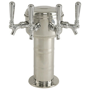 Mini Mushroom Tower - 4 304 Faucets - Polished Stainless Steel - Glycol Cooled # MTM-4PSSKR